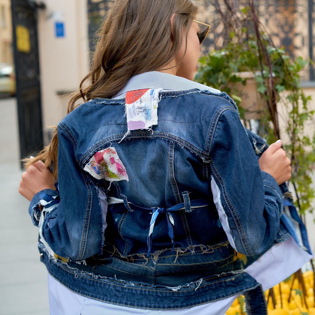 Креативная, дизайнерская джинсовая куртка