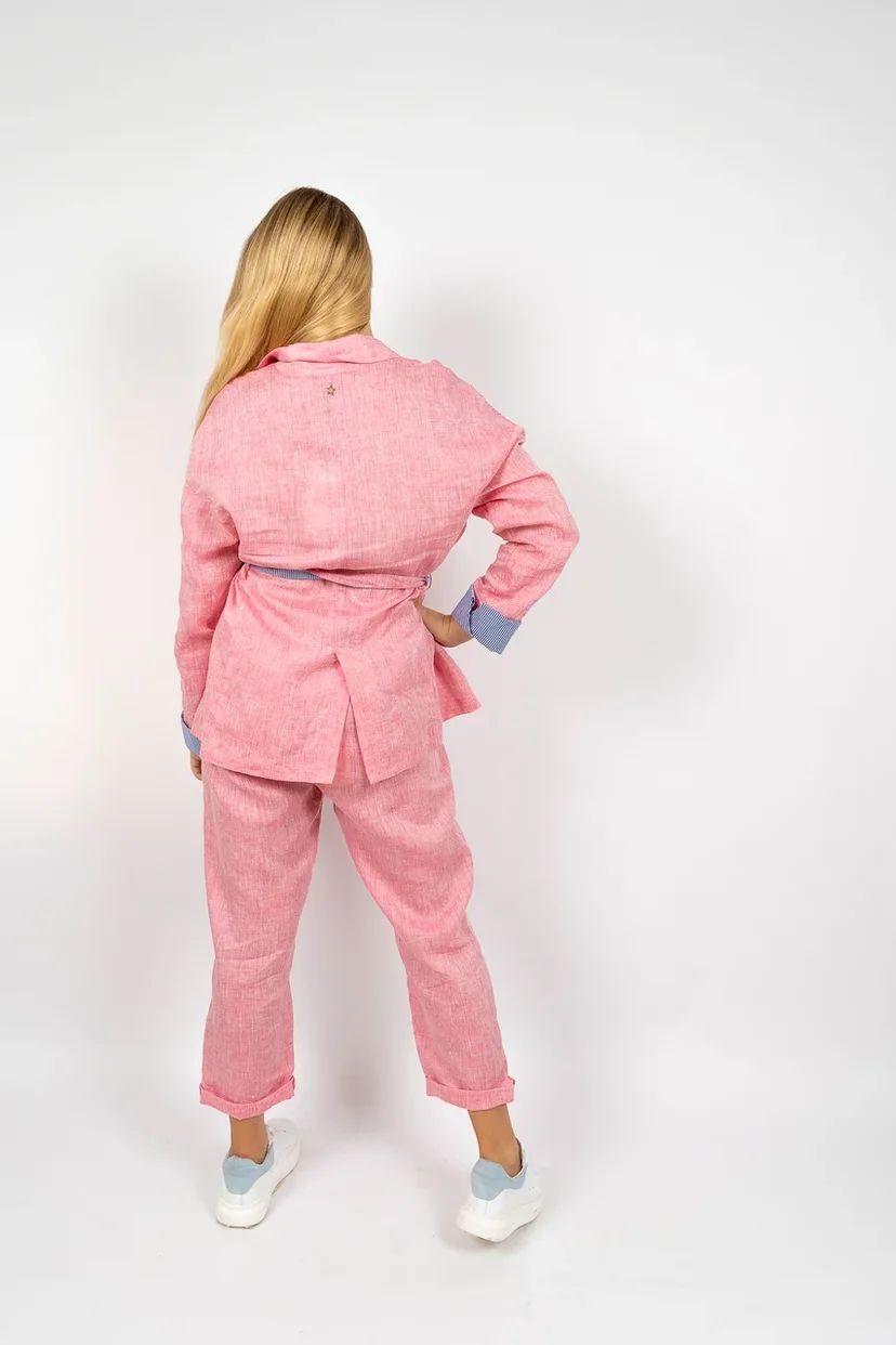 Льняной жакет оверсайз с поясом розовый