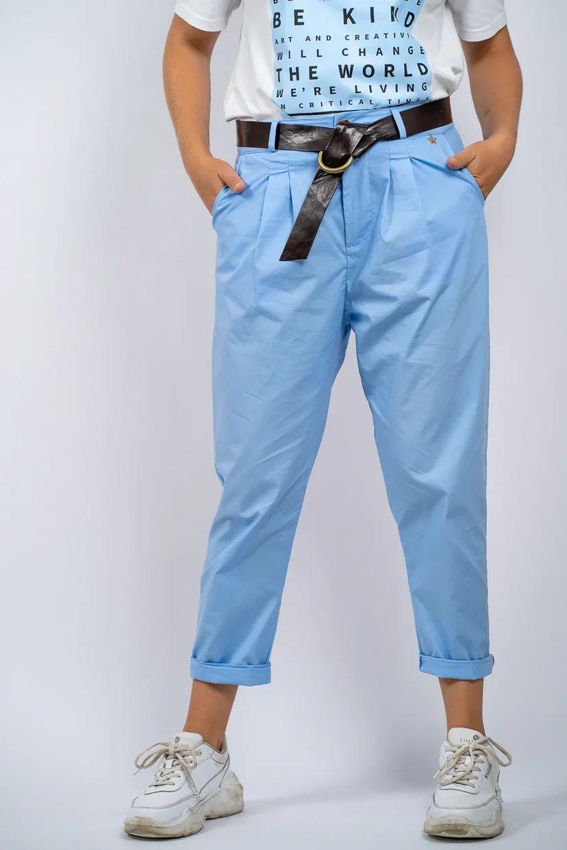 Брюки-слаксы голубые