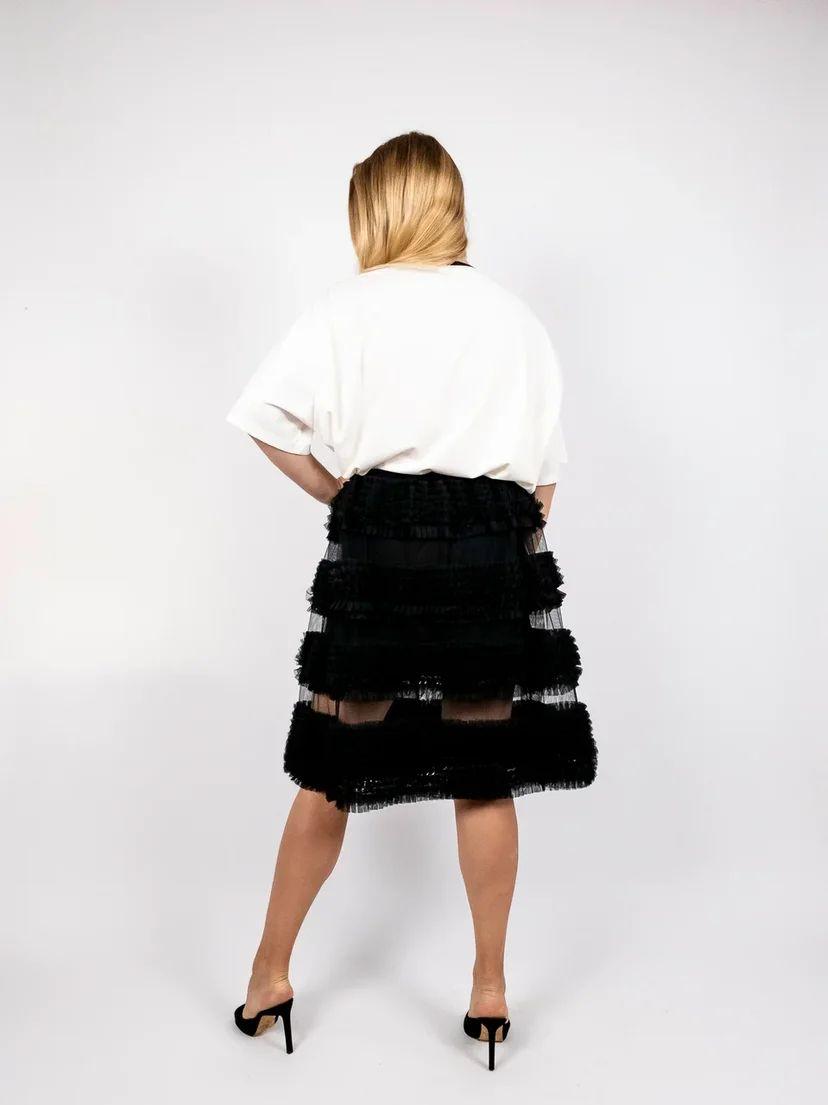 Пышная юбка из сетки с воланами