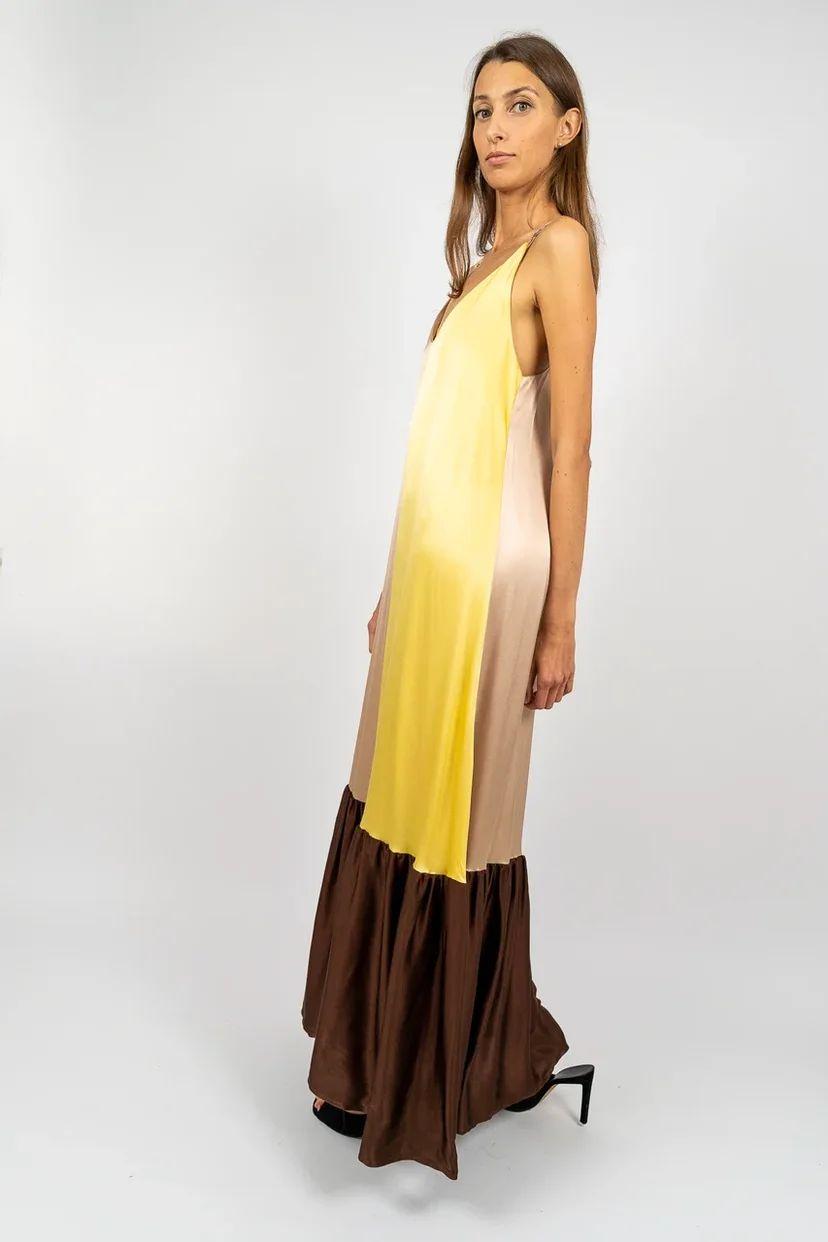 Платье-сарафан шёлковое с воланом color block