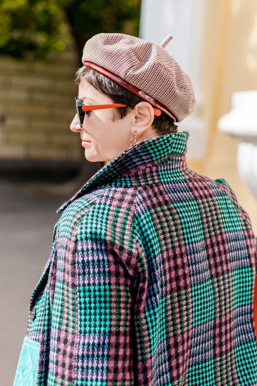 Пальто-кокон двухфактурное стеганое с твидом