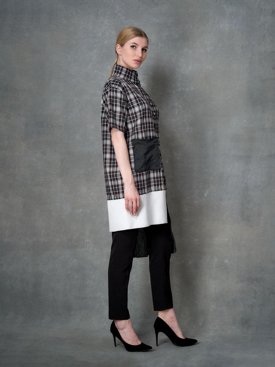 Клетчатое платье-рубашка с ассиметрией