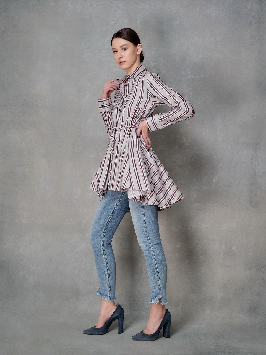 Полосатая рубашка-туника с поясом