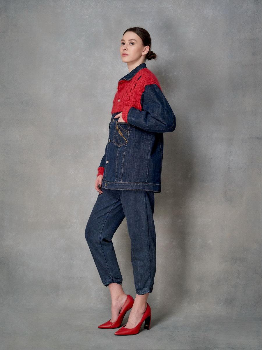 Куртка джинсовая с вязаным декором