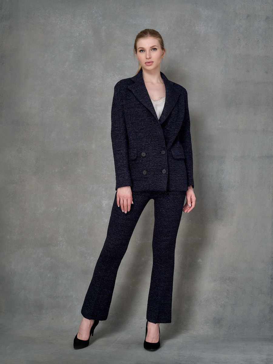 Вязанные брюки расклешенные с металлизированной нитью