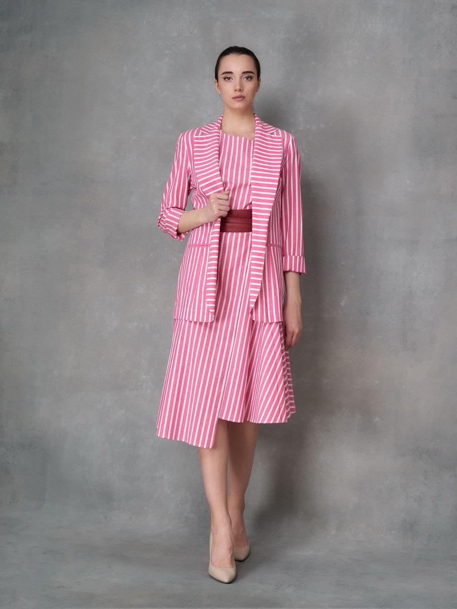 Платье в полоску розово-белую