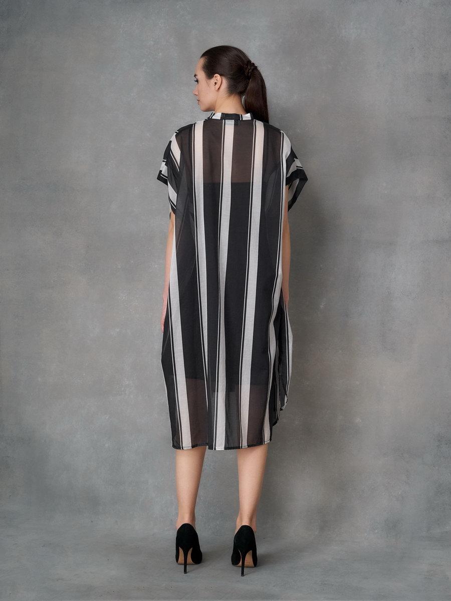 Платье полосатое Черно-белое