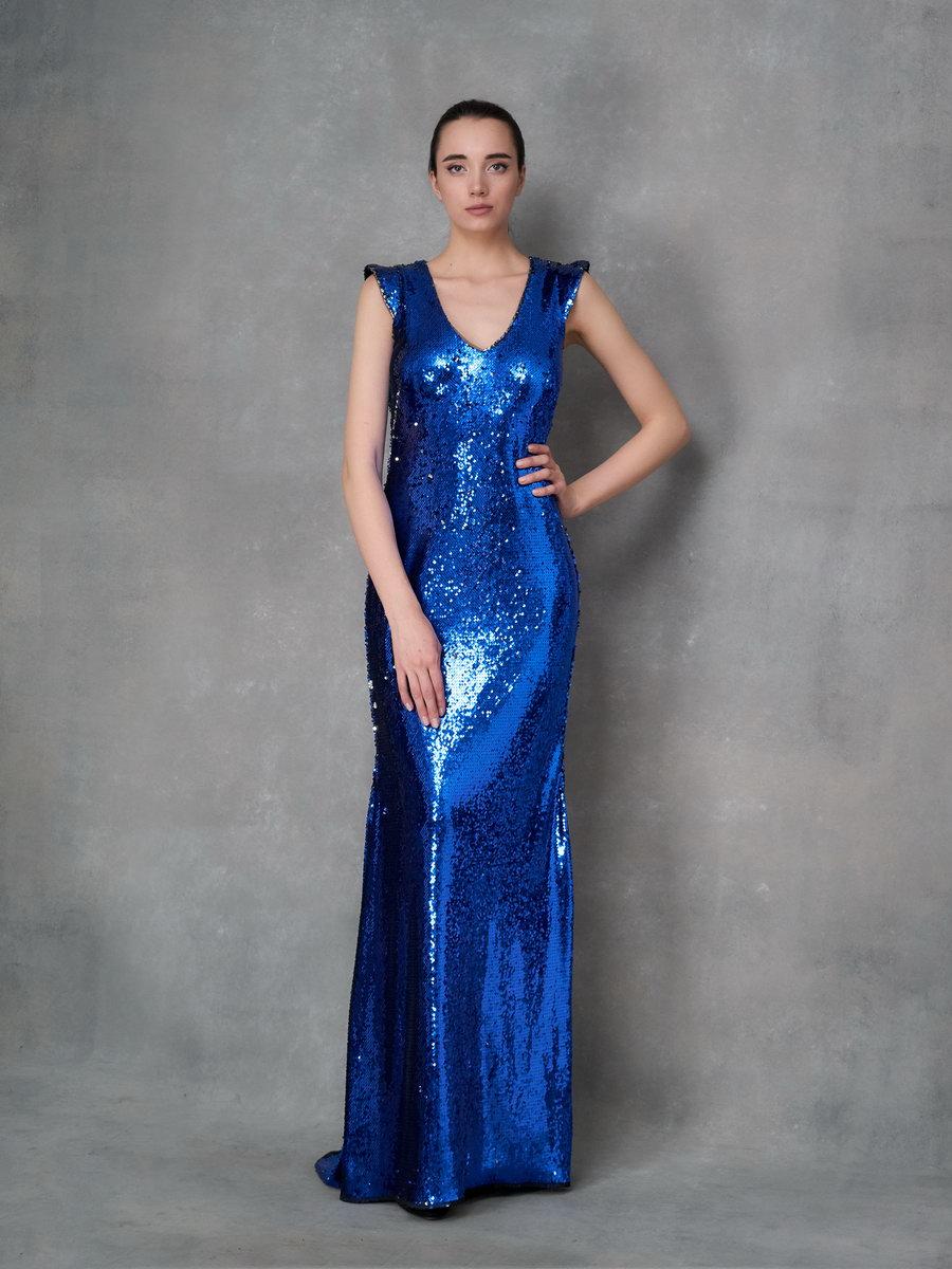 Платье из синих пайеток в пол