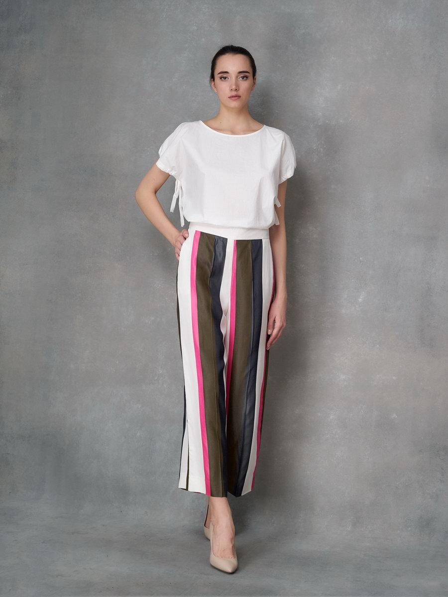 Широкие брюки- кюлоты в полоску