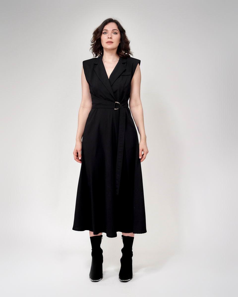 Платье без рукавов миди с юбкой солнце