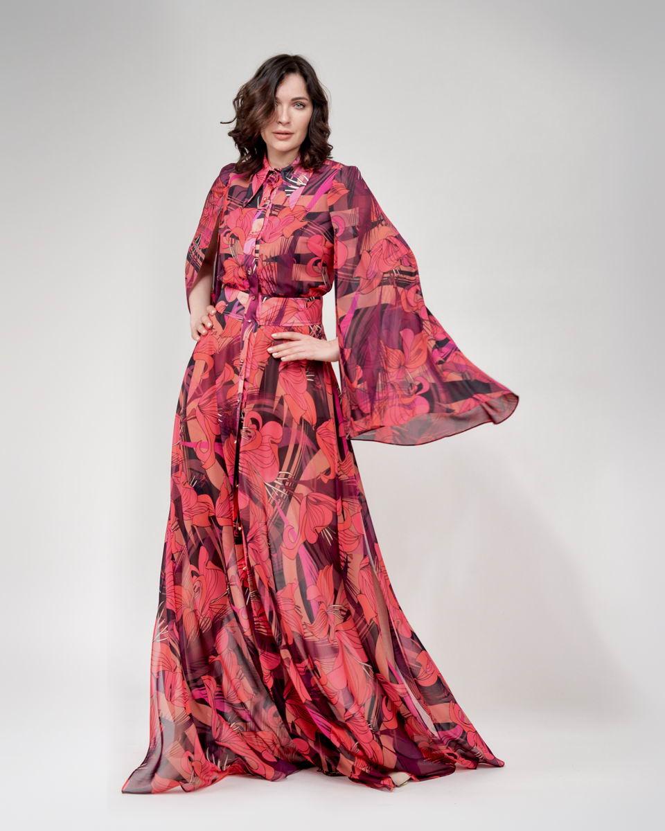 Платье макси рубашечного типа с разрезами в цветочном принте