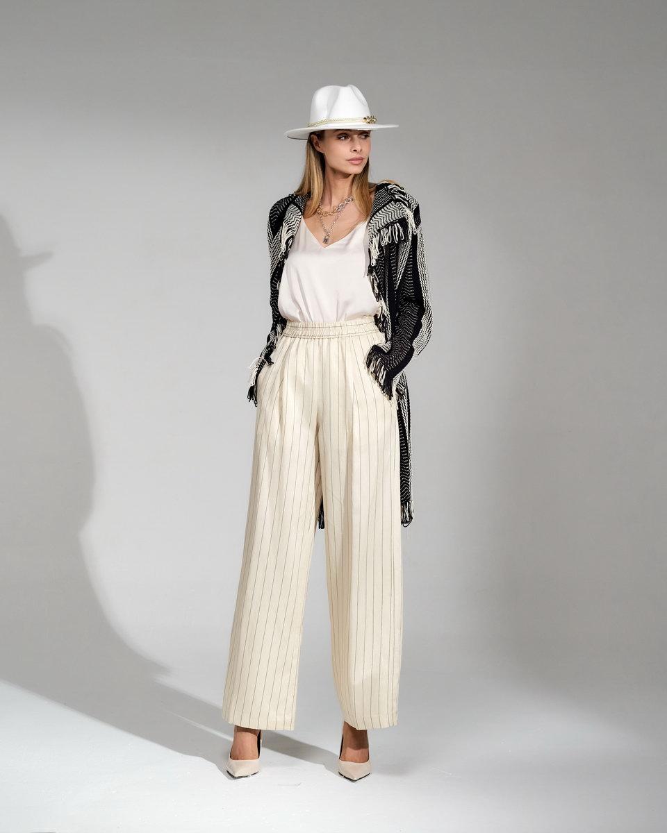Льняные брюки-палаццо на резинке в полоску