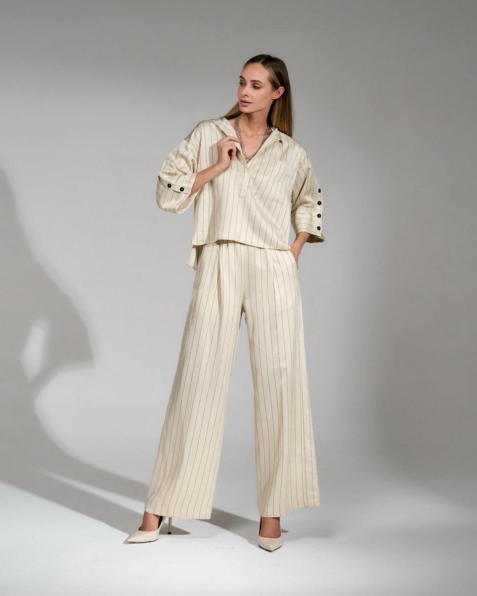 Льняная, укороченная блуза-рубашка в полоску