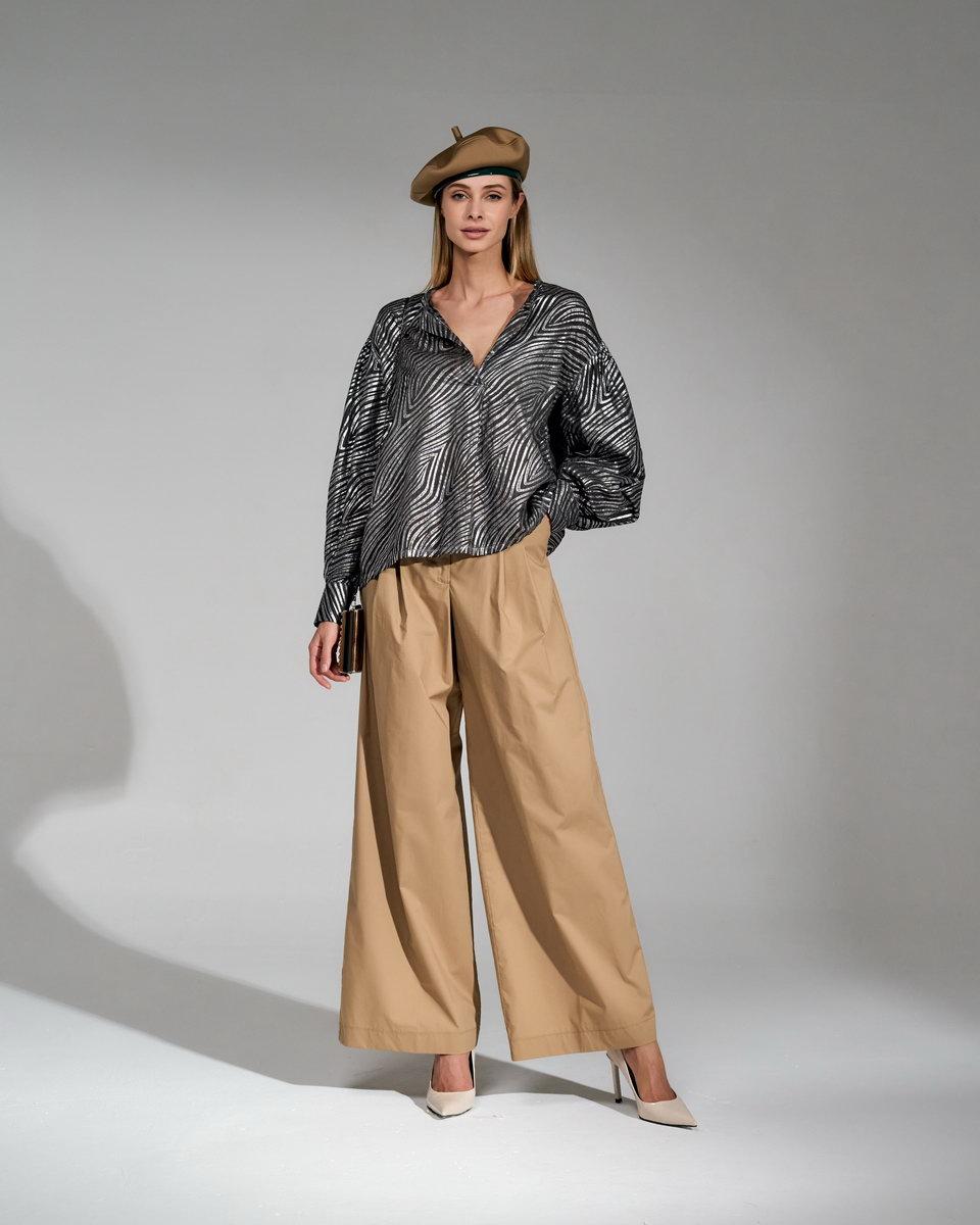 Блуза свободная с рукавами-буфами металлик