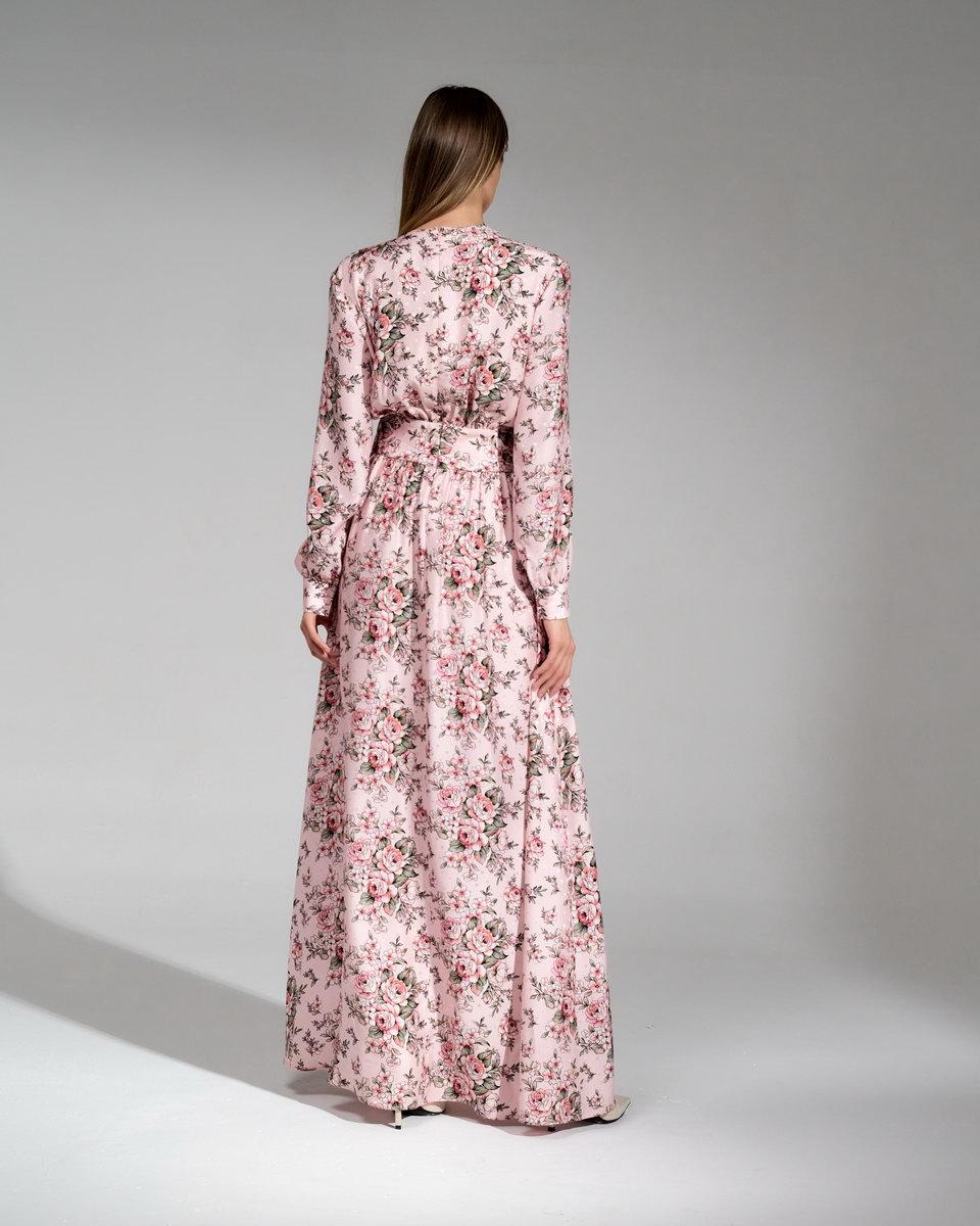 Шёлковое платье в пол в нежно-розовых тонах с цветочным принтом