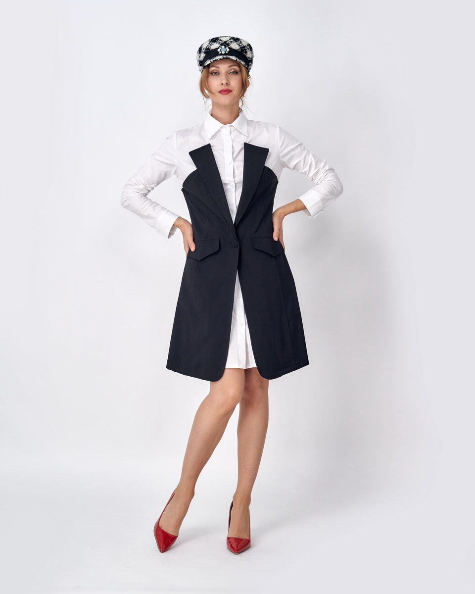 Платье-рубашка с декоративным жилетом