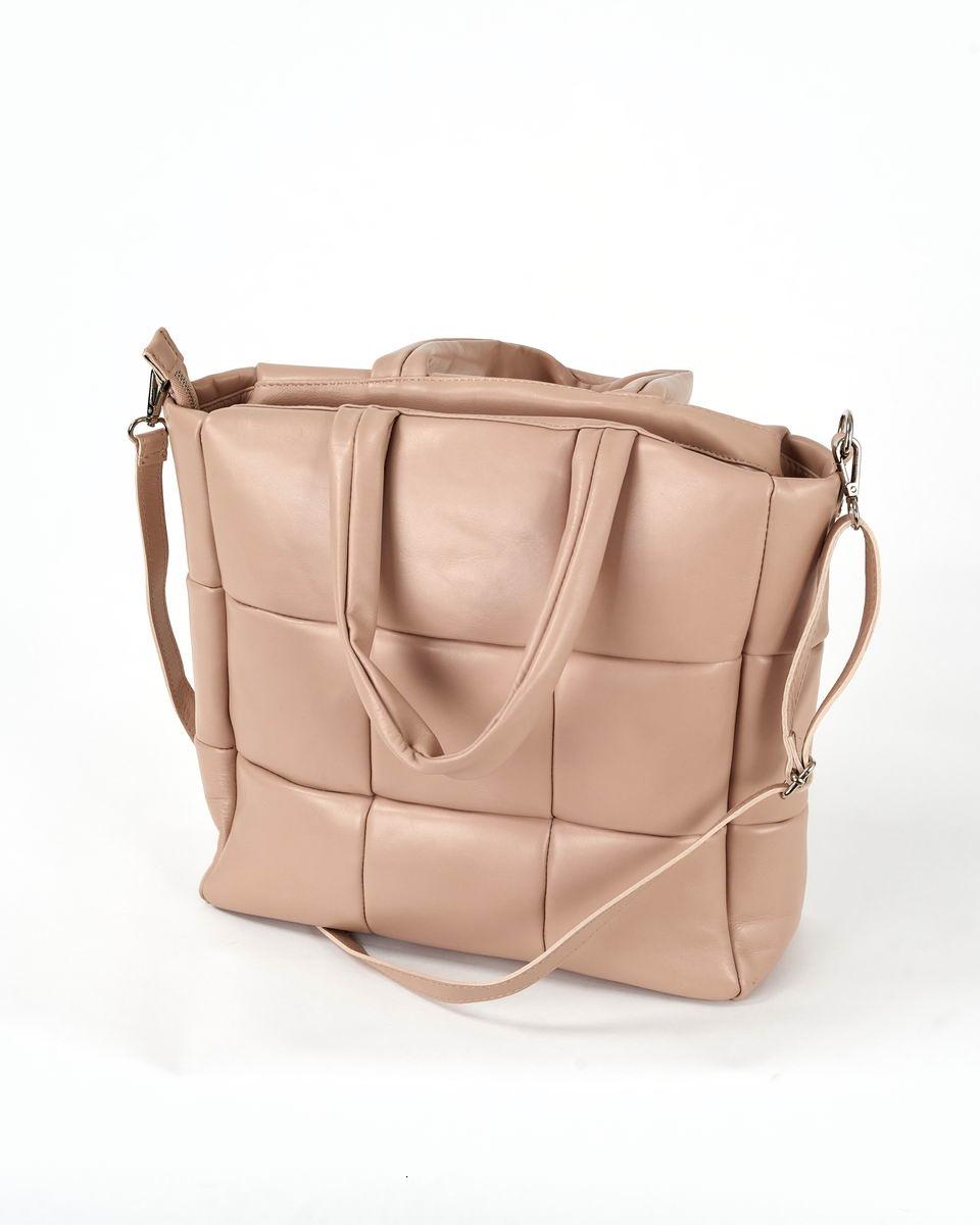 Дутая, стёганая сумка-тоут бледно-розового цвета