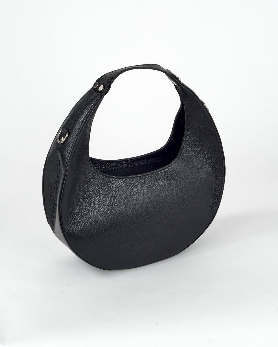 Сумка-полумесяц с круглой ручкой черного цвета
