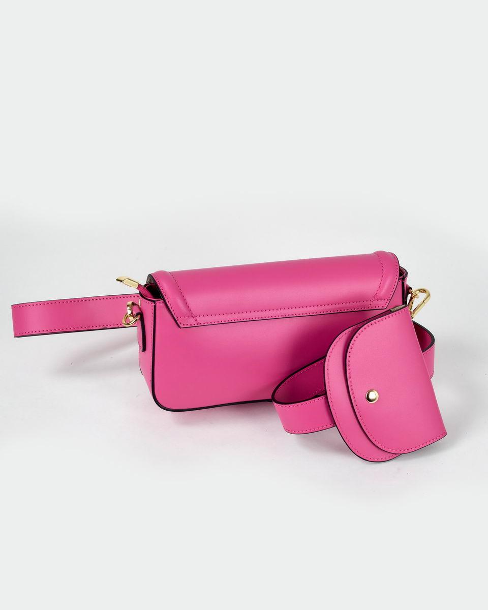 Двойная сумка-кроссбоди с пристегивающимся кошельком розового цвета