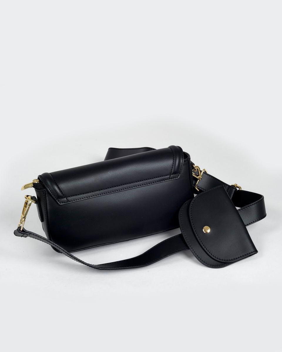 Двойная сумка-кроссбоди с пристегивающимся кошельком черного цвета