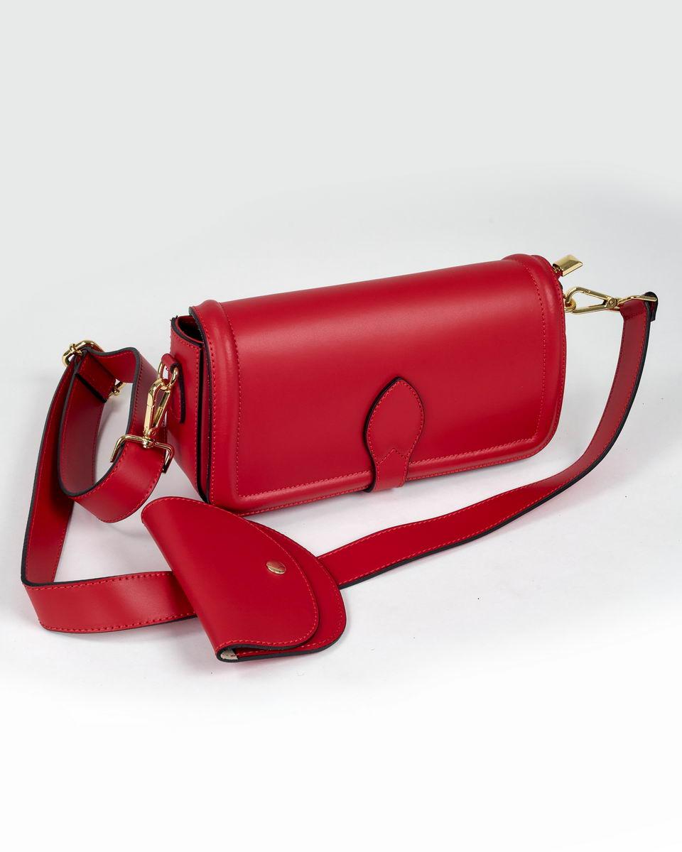 Двойная сумка-кроссбоди с пристегивающимся кошельком ярко-красного цвета