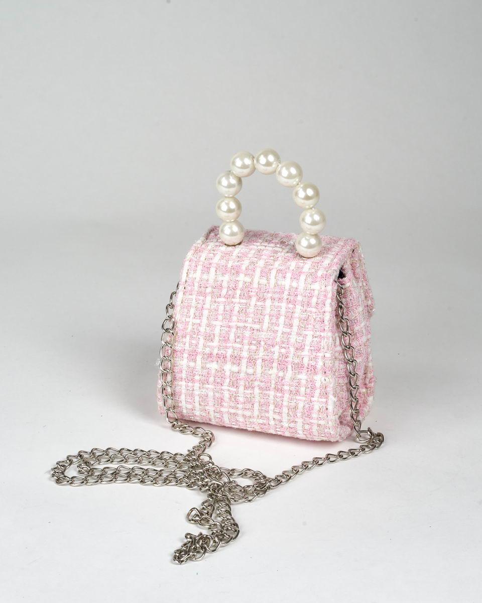 Микро-сумочка в стиле Chanel с верхней ручкой из искусственного жемчуга