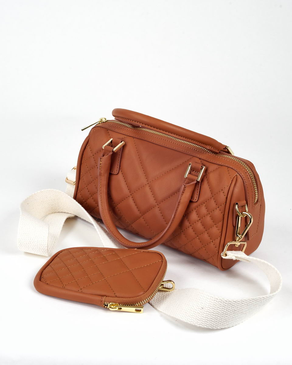 Двойная сумка-кроссбоди на трикотажном ремне с карманом