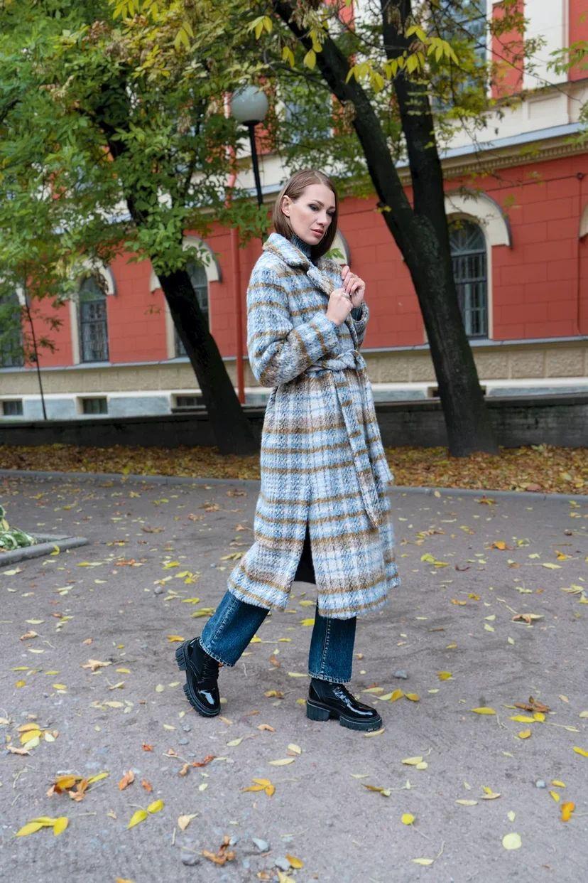 Пальто-халат в клетку ворсистое