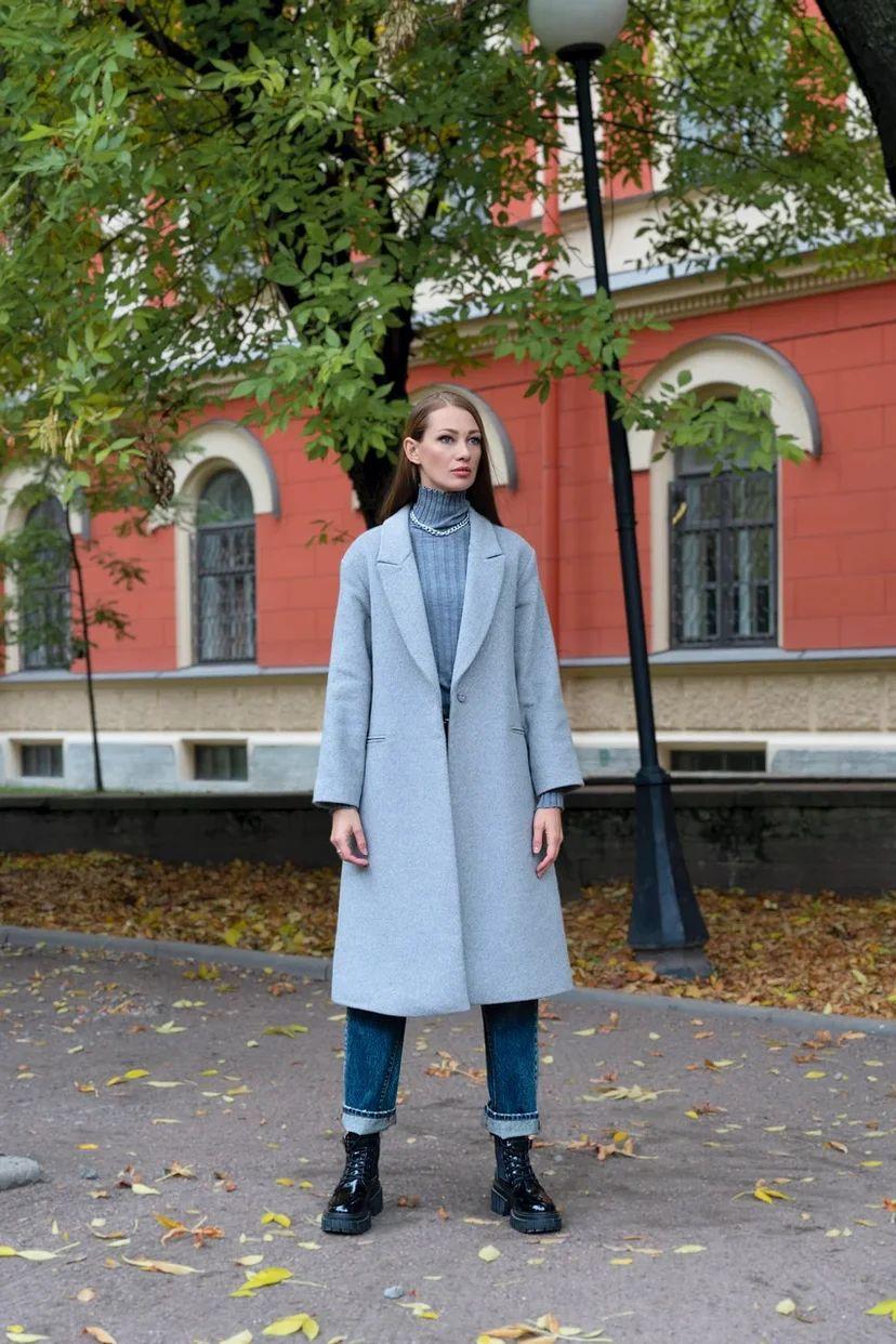 Классическое пальто оверсайз серого цвета