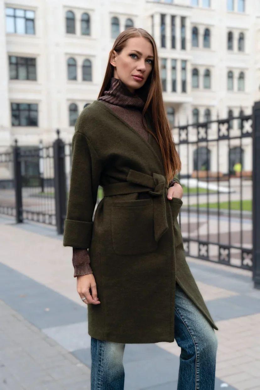 Пальто-халат на запах с рукавом ¾ хаки
